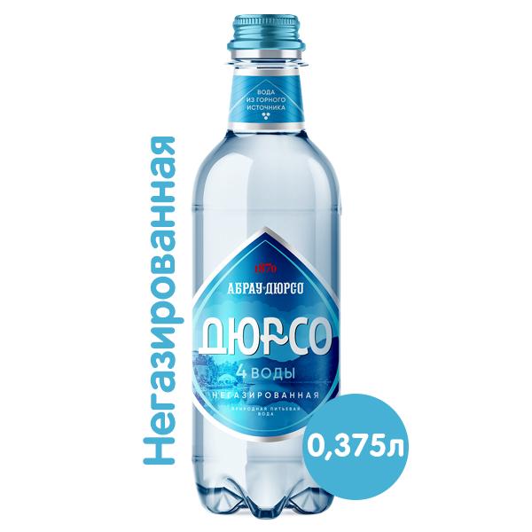 Вода 4 воды Абрау-Дюрсо 0.375 литра, без газа, пэт, 12 шт. в уп.
