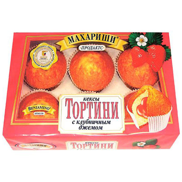 Кексы Махариши Тортини с клубничным джемом 200 гр