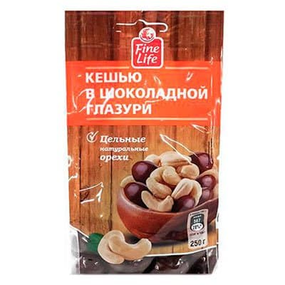 Драже Fine Life кешью в шоколадной глазури 250г (1шт) фото