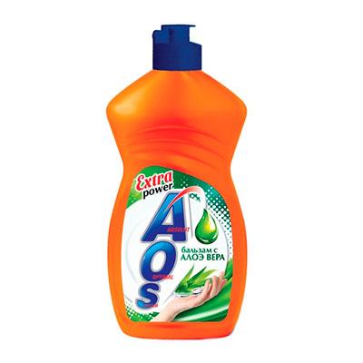 Средство для мытья посуды Aos бальзам с алоэ-вера 450 мл фото
