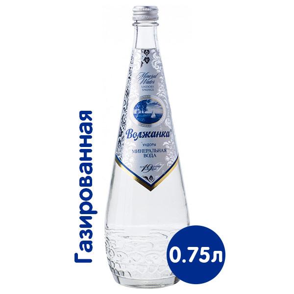 Вода Волжанка минеральная 0.75 литра, газ, стекло, 12 шт.. в уп. фото