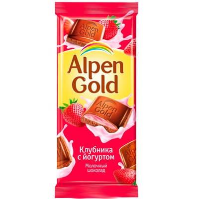 Шоколад Alpen Gold молочный с клубнично-йогуртовой начинкой 90 гр