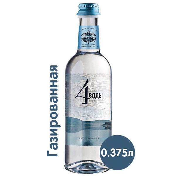 Вода 4 воды Абрау-Дюрсо 0.375 литра, газ, стекло, 6 шт. в уп. фото