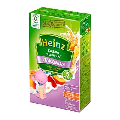 Лакомая кашка Heinz пшеничная с абрикосом, персиком и вишней 200 гр