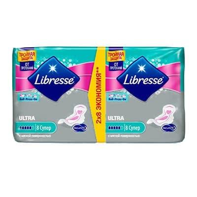 Прокладки Libresse ULTRA с мягкой поверхностью 5 капель 8шт (2шт)