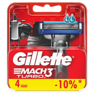 Сменная касета Gillette Mach3 Turbo 4 шт фото