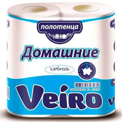 Бумажные полотенца Veiro Домашние эконом белые 2 слоя (2шт) фото