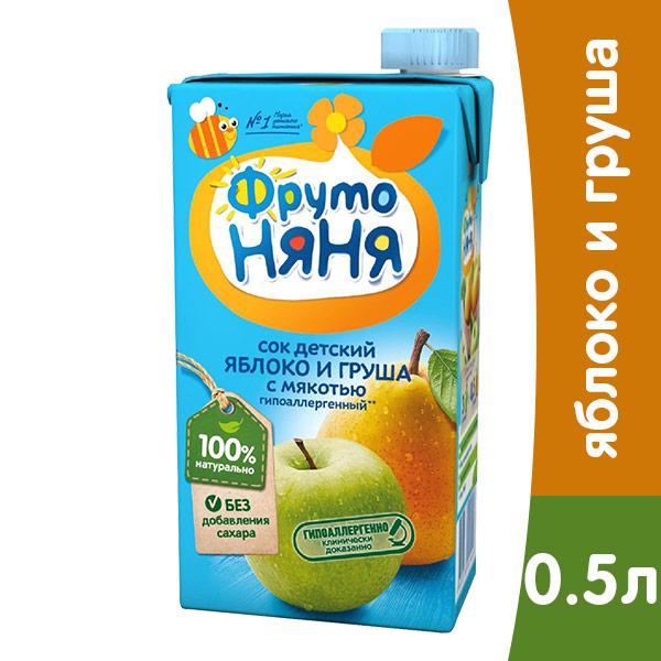 ФрутоНяня яблоко / груша с мякотью 0,5л (6шт.) фото