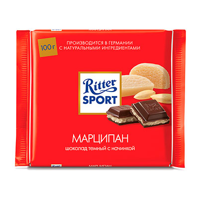 Шоколад Ritter Sport 51% тёмный с марципаном 100 гр