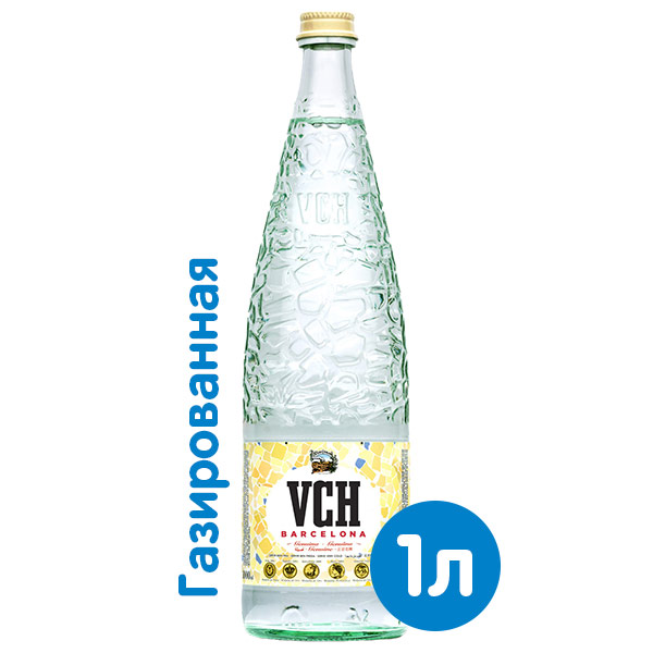 Вода VCH Barcelona 1 литр, газ, стекло, 12 шт. в уп. фото