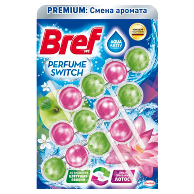 Средство для чистки унитаза Bref Premium Perfume Switch цветущая яблоня-лотос 3Х50 гр фото