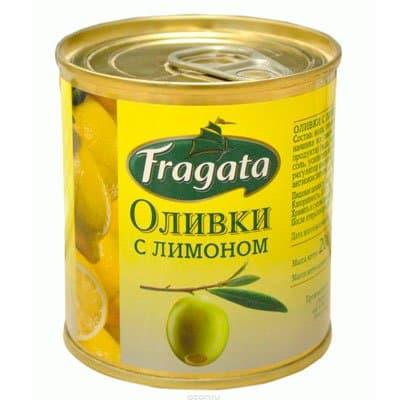 Оливки Fragata с лимоном ж/б 200гр
