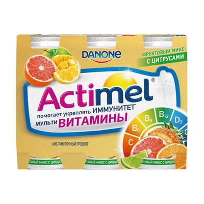 Кисломолочный продукт Actimel Фруктовый микс цитрусовый 2,5% БЗМЖ 6шт x 100 гр фото
