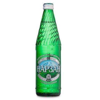 Вода Нарзан 0.5 литра, газ, стекло, 20шт. в уп.