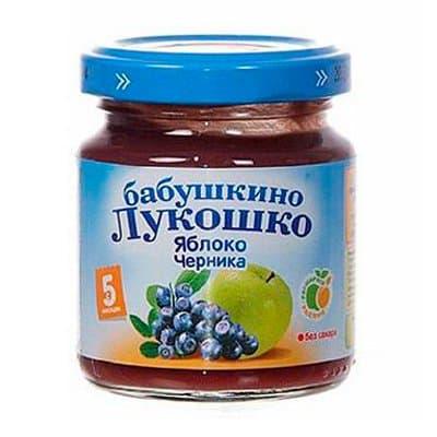 Пюре Бабушкино Лукошко яблоко и черника (100гр) (6шт)