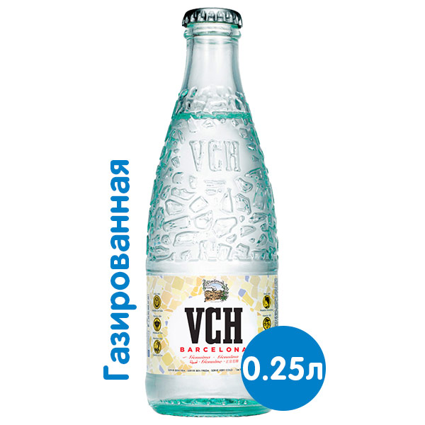 Вода VCH Barcelona 0.25 литра, газ, стекло, 24 шт. в уп. фото
