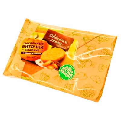Биточки Овощная лавка тыквенные сладкие с изюмом и курагой 420 гр