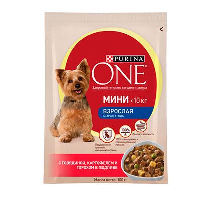 Корм для собак Purina One Моя собака уже взрослая с курицей, морковью и зеленой фасолью в подливе 100 гр фото