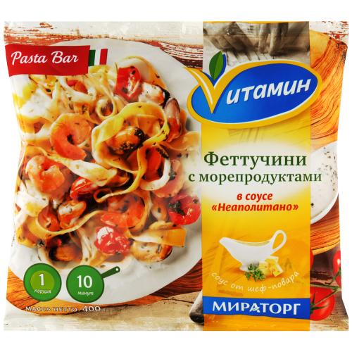 Феттучини VИТАМИН с морепродуктами в соусе Неаполитано заморож 400 гр