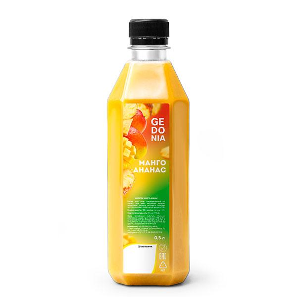 Напиток Gedonia Манго, ананас 0.5 литра, без газа, пэт, 20 шт. в уп.