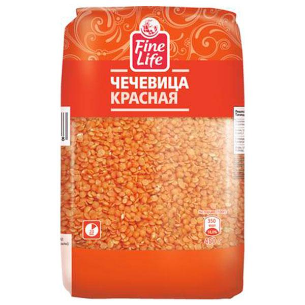 Чечевица Fine Life красная 450 гр