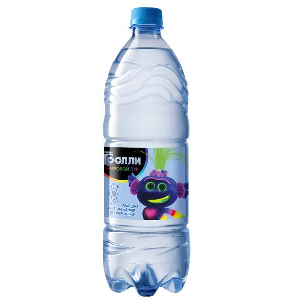 Вода Tassay герои мультфильма Тролли 1 литр, без газа, пэт, 6 шт. в уп.