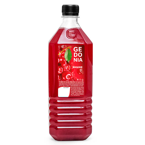 Напиток Gedonia Вишня 1 литр, без газа, пэт, 16 шт. в уп.