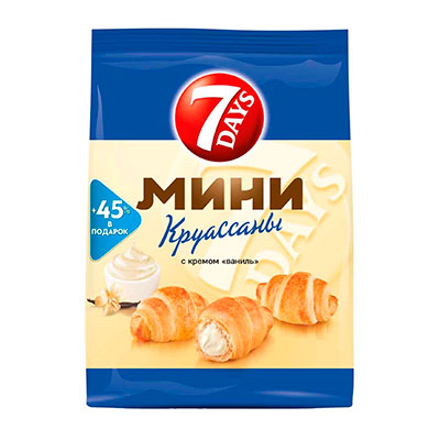 Мини-круассаны 7Days с кремом ваниль 105 гр