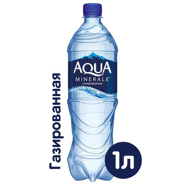 Вода Аква Минерале 1 литр, газ, пэт, 12 шт. в уп. фото