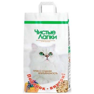 Наполнитель для кошек Чистые Лапки древесный (12л)