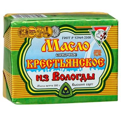 Масло из Вологды сливочное Крестьянское 72,5% БЗМЖ