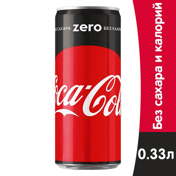 Coca-cola / Кока Кола Zero 0.33 литра, ж/б, 24 шт. в уп. фото