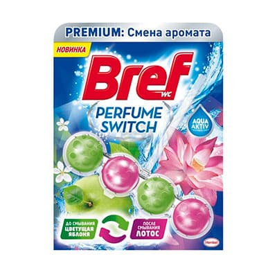 Средство для чистки унитаза Bref смена аромата яблоня-лотос 50 гр фото