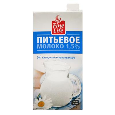 Молоко Fine Life ультрапастеризованное 1,5% БЗМЖ 950 гр фото