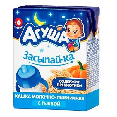 Каша детская Агуша Засыпай-ка молочно-пшеничная с тыквой с 6 месяцев 200 мл.