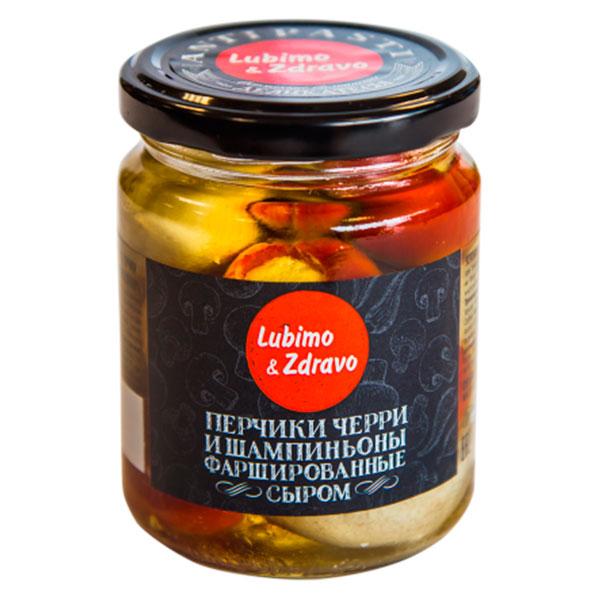 Ассорти перчики черри и шампиньоны фаршированные сыром Lubimo & Zdravo 245 мл