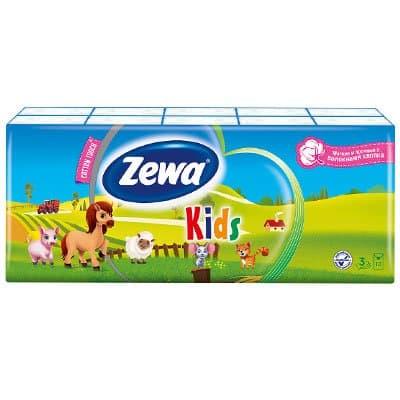 Носовые платочки Zewa Kids детские 3 слоя (10х10 шт) фото