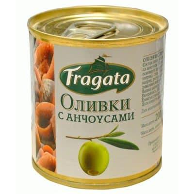 Оливки Fragata с анчоусом ж/б 200гр