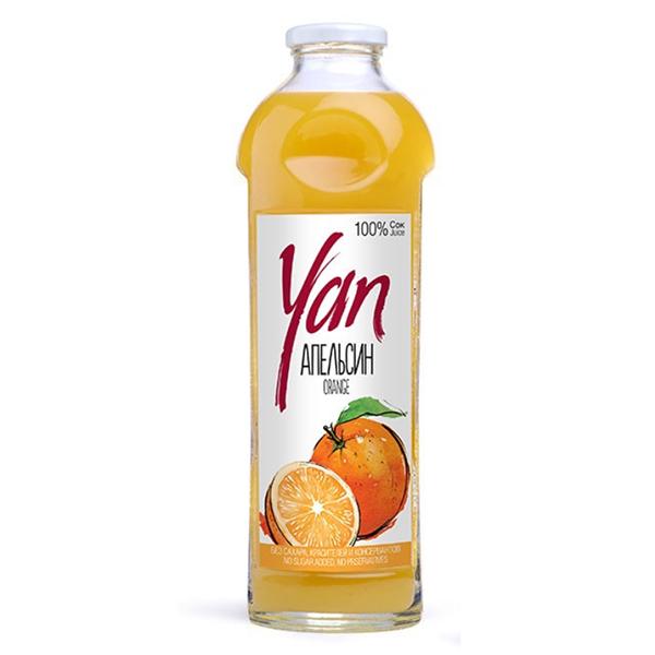Сок YAN апельсиновый 0.93 литра стекло 6 шт. в уп..