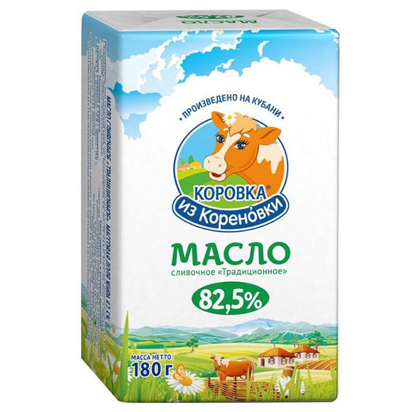 Масло Коровка из Кореновки сливочное традиционное 82.5% БЗМЖ 180 гр