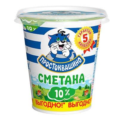 Сметана Простоквашино 10% БЗМЖ 315 гр фото