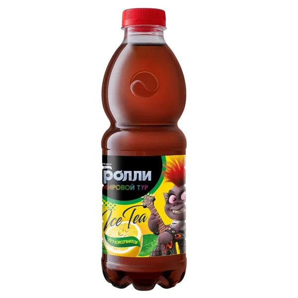 Чай Tassay герои мультфильма Тролли черный с лимоном 0.5 литра, пэт, 12 шт. в уп.
