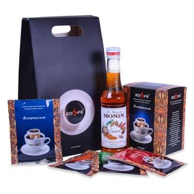 Подарочный набор №1 (Кофе Бразилия сантос, Сироп Monin карамель 0,25л)