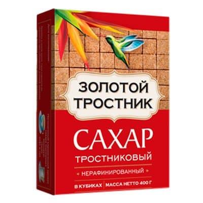 Сахар тростниковый Золотой Тростник нерафинированный в кубиках 400 гр