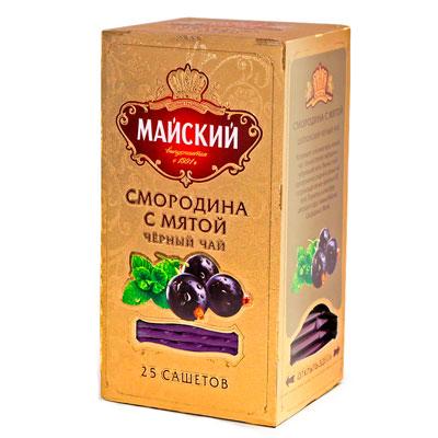 Чай черный Майский Смородина с мятой 25 пак фото