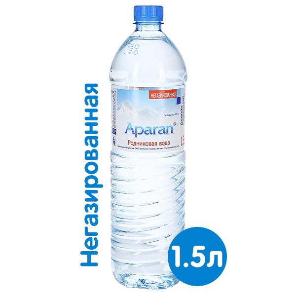 Вода Апаран 1.5 литра, без газа, пэт, 6 шт. в уп.