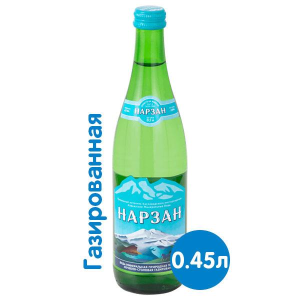 Вода Нарзан Тэсти лечебно-столовая 0.45 литра, газ, стекло, 20 шт. в уп. фото