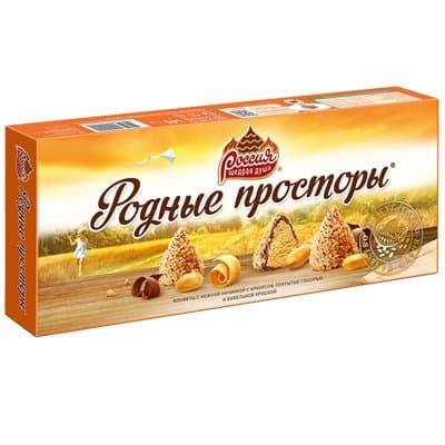 Конфеты Родные просторы с арахисом, глазурью и вафельной крошкой 145 гр.