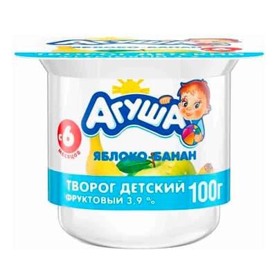 Творог Агуша яблоко-банан 3,9% БЗМЖ 100 гр (4 шт)