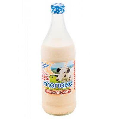 Молоко Можайское топленое стерилизованное 2,5% БЗМЖ 0.45 литра, стекло фото